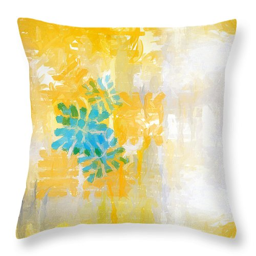 Yellow Throw Pillow featuring the painting Bright Summer by Lourry Legarde