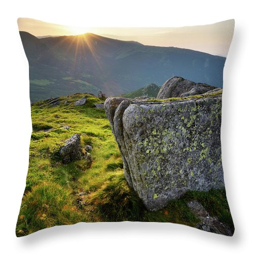 Scenics Throw Pillow featuring the photograph Bright Sunset Landscape In Mountains by Rezus