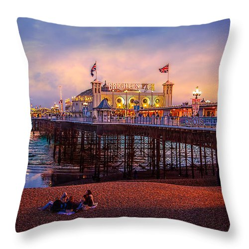 Pier Throw Pillow featuring the photograph Brighton's Palace Pier At Dusk by Chris Lord