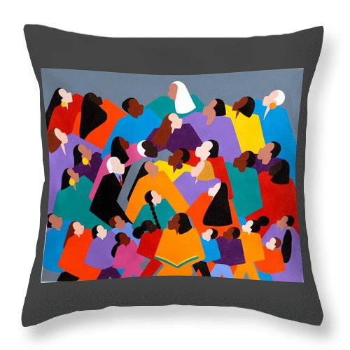 Figurative Throw Pillow featuring the painting Brilliance by Synthia SAINT JAMES