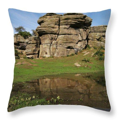Brimham Rocks Throw Pillow featuring the photograph Brimham Rocks Reflection by John Topman