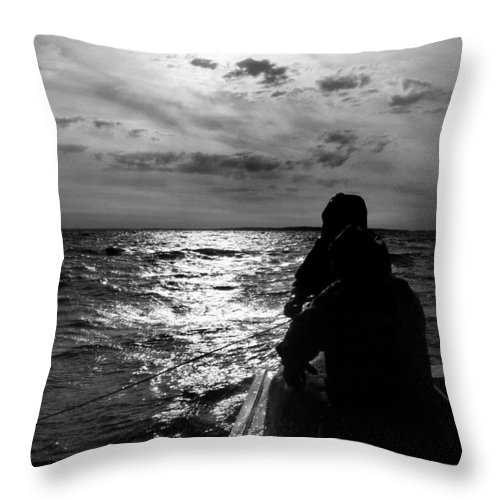 Drift Net Throw Pillow featuring the photograph Bringing In The Nets by Skip Willits
