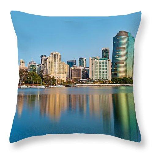 Brisbane Throw Pillow featuring the photograph Brisbane City Reflections by Az Jackson