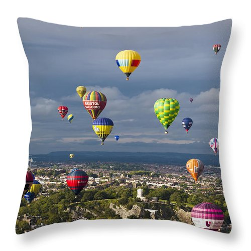 Freedom Throw Pillow featuring the photograph Bristol Balloon Fiesta Bristol by Doug McKinlay