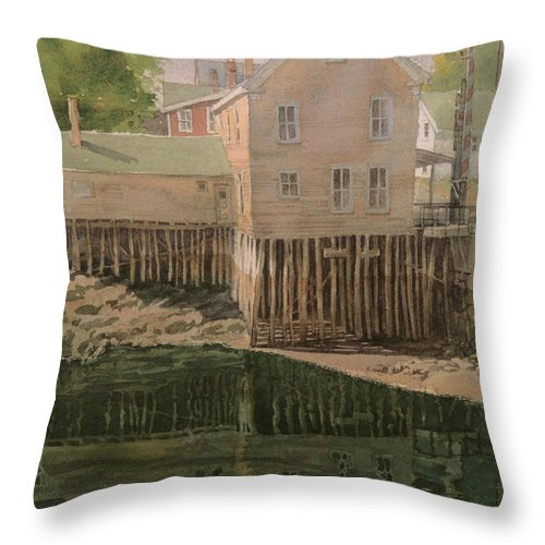 Landscapes Throw Pillow featuring the painting Bristol Maine by Jon Hunter
