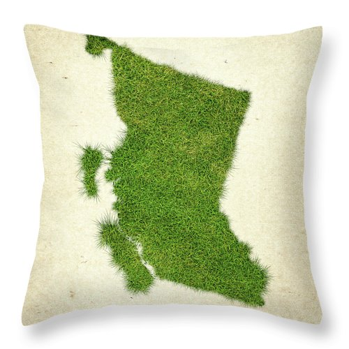 Map Of British Columbia Throw Pillow featuring the photograph British Columbia Grass Map by Aged Pixel