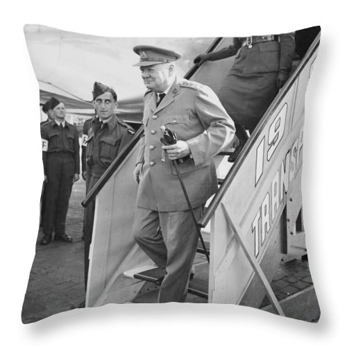 British Prime Minister Throw Pillow featuring the photograph British Prime Minister Winston Churchill by Georgia Fowler
