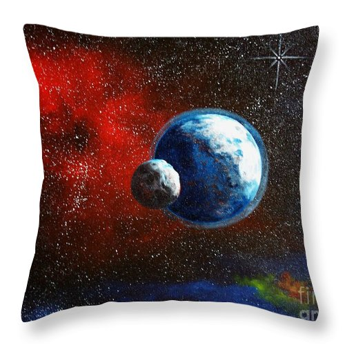 Astro Throw Pillow featuring the painting Broken Moon by Murphy Elliott