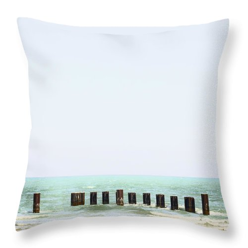 Water Throw Pillow featuring the photograph Broken Pier by Margie Hurwich