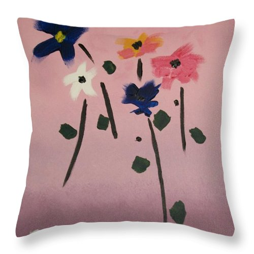 Flowers Throw Pillow featuring the painting Broken Vase by Sherry Cordle