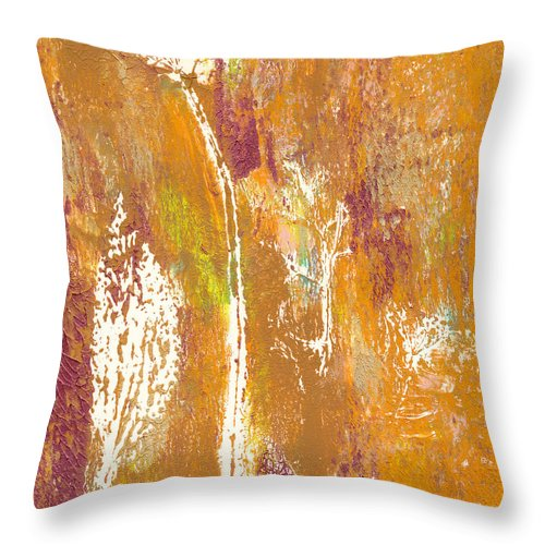 Bronze And Gold Throw Pillow featuring the painting Bronze And Gold by Janet Gunderson