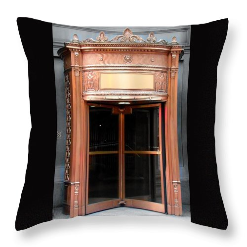 Cleveland Throw Pillow featuring the photograph Bronze Doors by Wendy Gertz