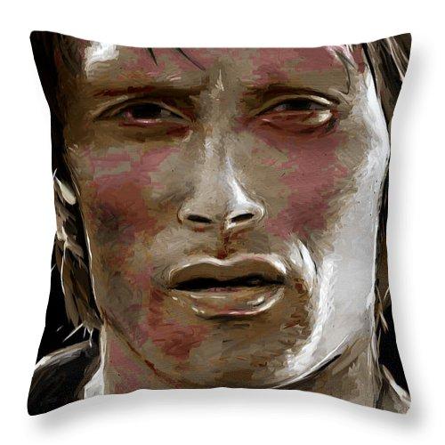 Mads Mikkelsen Throw Pillow featuring the digital art Bronze by Dori Hartley