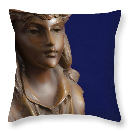 American Throw Pillow featuring the photograph Bronze Lady by Jack R Perry