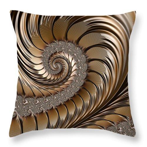 Brass Scrollwork Throw Pillow featuring the digital art Bronze Scrolls Abstract by John Edwards