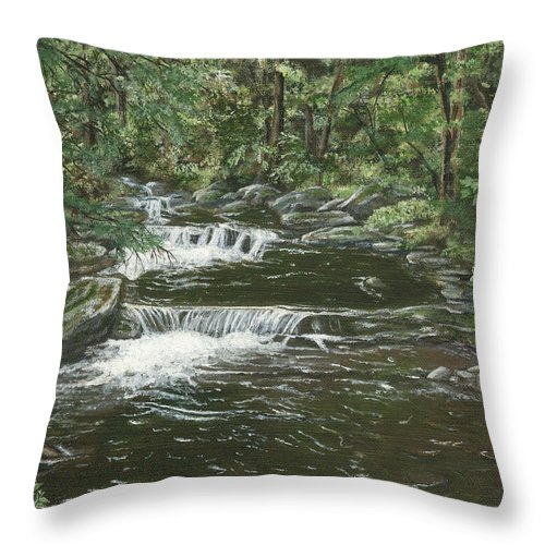 Brook Throw Pillow featuring the painting Brook In Spruceton by Lucinda V VanVleck