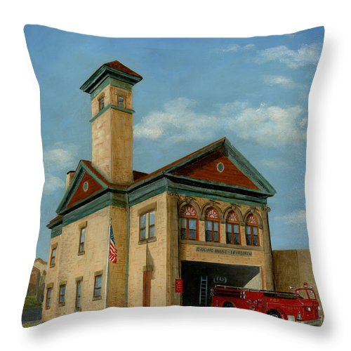 Brookline Historical Engine House Forestation Fire Station Pittsburgh Pennsylvania Original Oil On Canvas Linen Painting Architecture Architectural Building City Official Flag Cecilia Brendel Doug Brendel George Fire Truck Firetruck Old House Brick Building Throw Pillow featuring the painting Brookline Historical Engine House by Cecilia Brendel