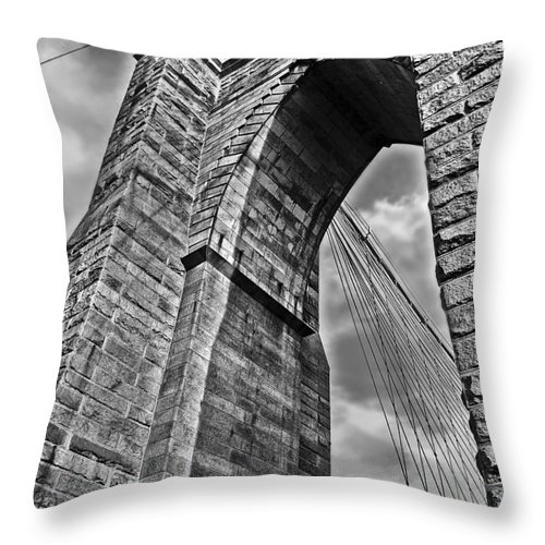 Nyc Throw Pillow featuring the photograph Brooklyn Bridge Arch - Vertical by Carlos Alkmin