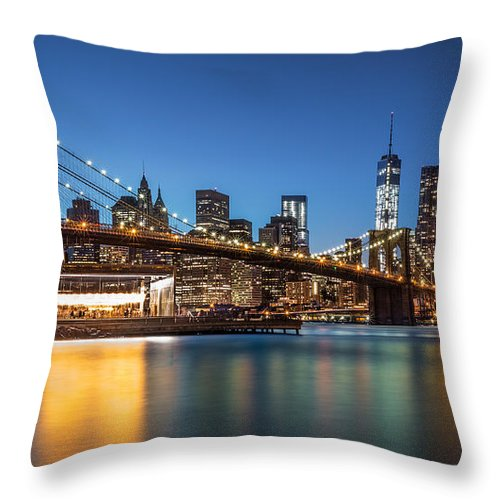 Throw Pillow featuring the photograph Brooklyn Bridge At Dusk by Mihai Andritoiu
