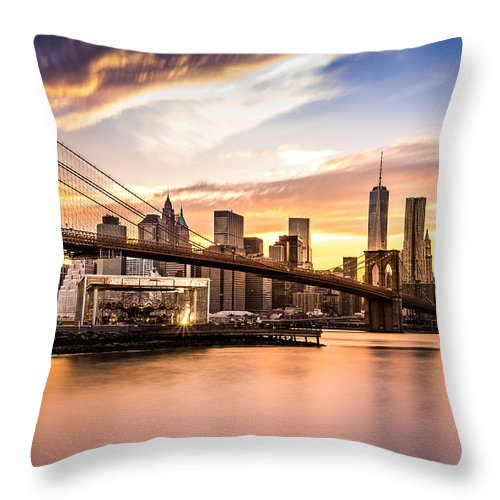 America Throw Pillow featuring the photograph Brooklyn Bridge at sunset by Mihai Andritoiu