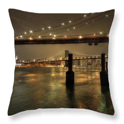 Bridge .water..new .york.river.bay.night. Throw Pillow featuring the photograph Brooklyn Bridge by Larry Lage