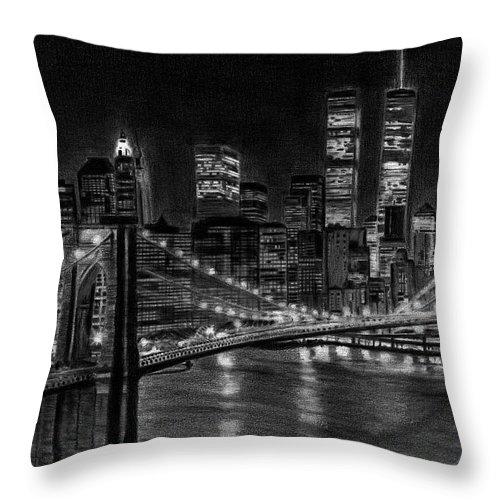 Brooklyn bridge throw pillow featuring the drawing brooklyn bridge new york by david rives