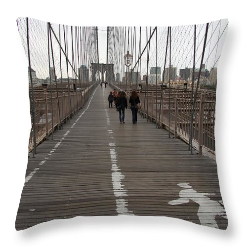 Bridge Throw Pillow featuring the photograph Brooklyn Bridge Walkway by Christiane Schulze Art And Photography