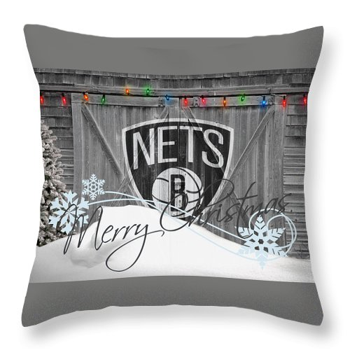 Nets Throw Pillow featuring the photograph Brooklyn Nets by Joe Hamilton