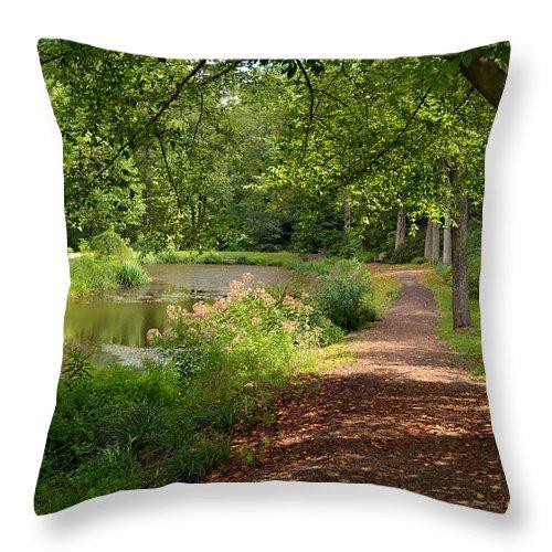Summer Throw Pillow featuring the digital art Brookside Garden Walk by Eva Kaufman