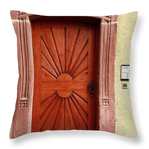 Apartment Throw Pillow featuring the photograph Brown Door Exterior Entrance by Bendebruyn