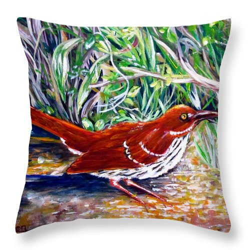 Brown Thrasher Throw Pillow featuring the painting Brown Thrasher In Sunlight by Carol Allen Anfinsen