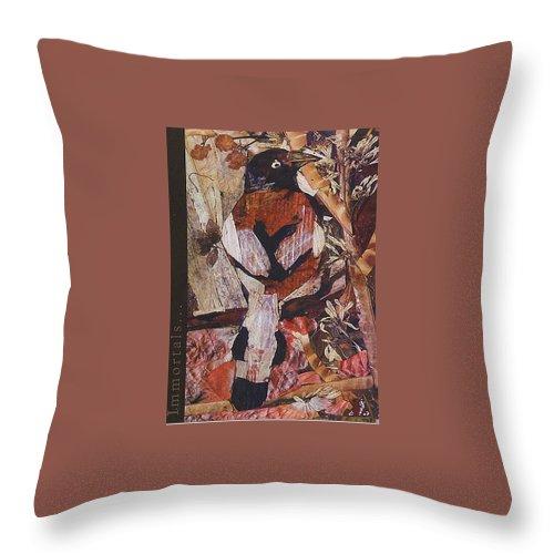Brown-white-bird Throw Pillow featuring the mixed media Brown- White Bird by Basant Soni