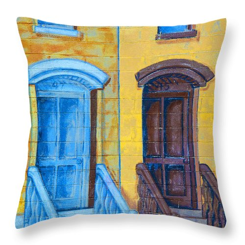 Brownstone Mural Throw Pillow featuring the photograph Brownstone Mural Art by Regina Geoghan