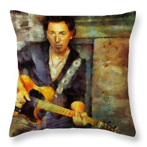 Bruce Springsteen Throw Pillow featuring the painting Bruce by Janice MacLellan