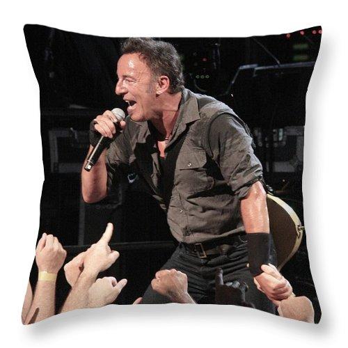 Photos Throw Pillow featuring the photograph Musician Bruce Springsteen by Concert Photos