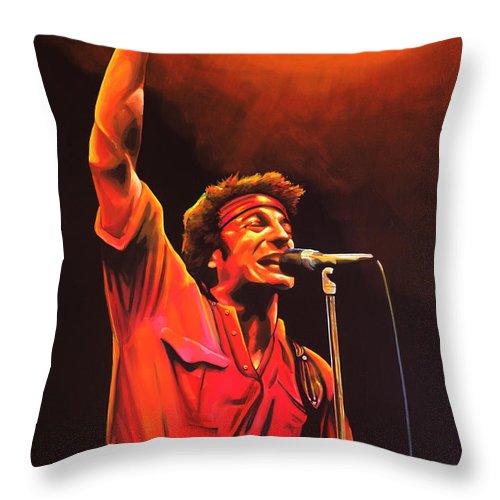 Bruce Springsteen Throw Pillow featuring the painting Bruce Springsteen Painting by Paul Meijering