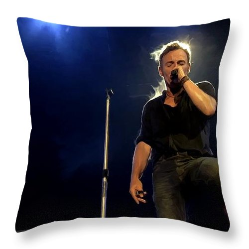 Bruce Springsteen Throw Pillow featuring the digital art Bruce Springsteen Performing The River At Glastonbury In 2009 - 1 by Gabriel T Toro