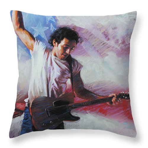 Singer Throw Pillow featuring the mixed media Bruce Springsteen The Boss by Viola El