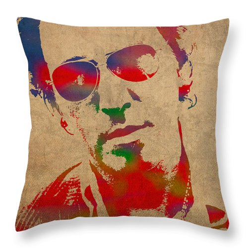 Bruce Springsteen Watercolor Portrait On Worn Distressed Canvas Throw Pillow featuring the mixed media Bruce Springsteen Watercolor Portrait on Worn Distressed Canvas by Design Turnpike