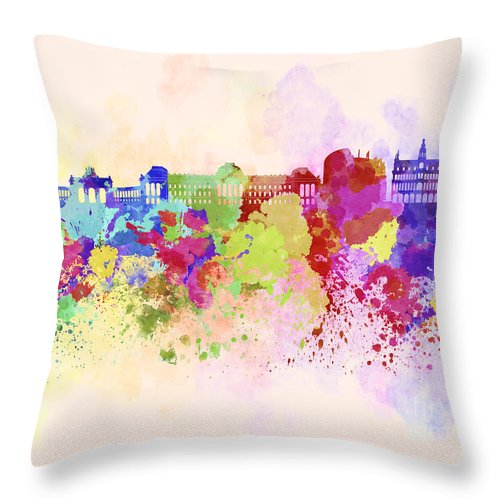 Brussels Skyline Throw Pillow featuring the digital art Brussels Skyline In Watercolor Background by Pablo Romero
