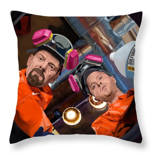 Aaron Paul Throw Pillow featuring the digital art Bryan Cranston as Walter White and Aaron Paul as Jesse Pinkman @ TV serie Breaking Bad by Gabriel T Toro