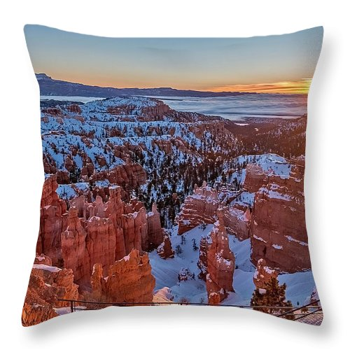 Sunrise Throw Pillow featuring the photograph Bryce Sunrise by Steve Dunsford