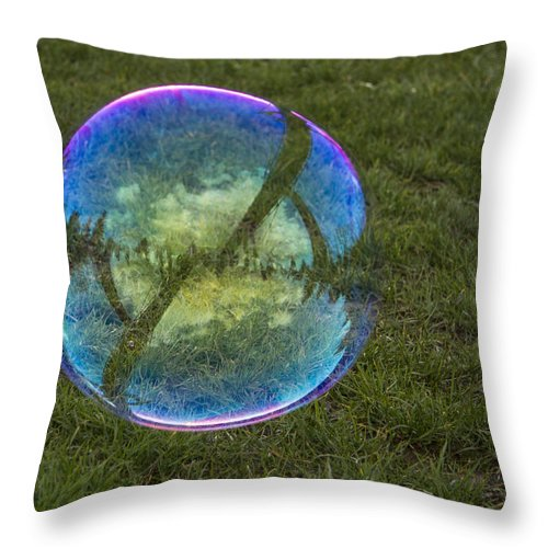 Bubbles Throw Pillow featuring the photograph Bubble On Grass With St.johns Bridge by Jean Noren