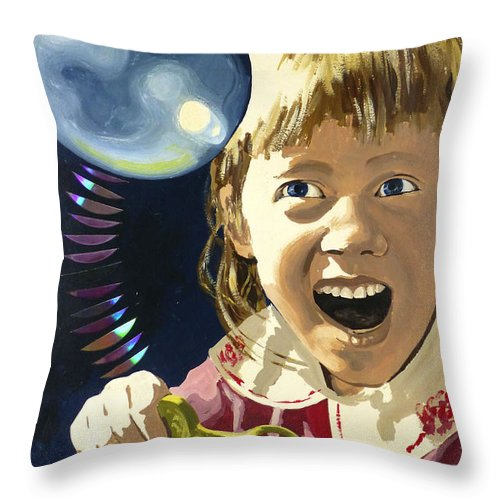 Hanzer Art Throw Pillow featuring the painting Bubbles by Jack Hanzer Susco