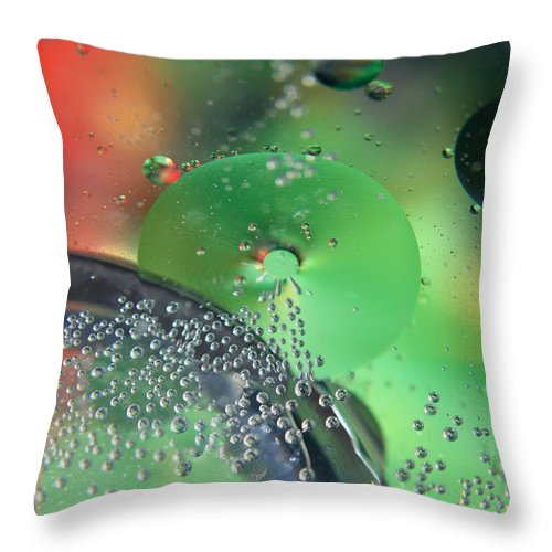 Abstract Throw Pillow featuring the photograph Bubbling Color by Jim Finch