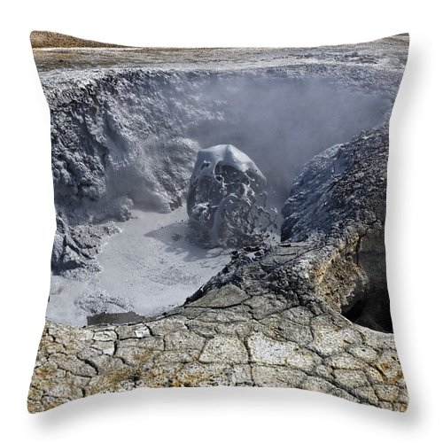 Namaskard Throw Pillow featuring the photograph Bubbling Mud Pool At Hverir In Iceland by Robert Preston