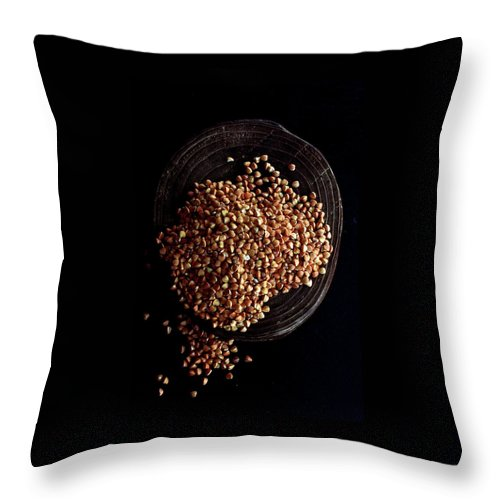 Grains Throw Pillow featuring the photograph Buckwheat Grouts by Romulo Yanes