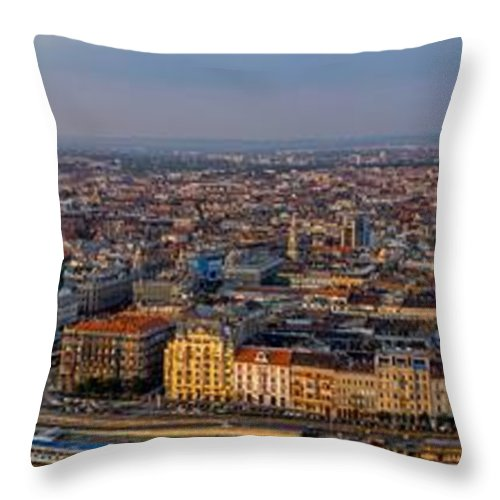 Orange Throw Pillow featuring the photograph Budapest Panorama by Pati Photography