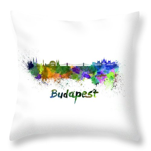 Budapest Throw Pillow featuring the painting Budapest Skyline In Watercolor by Pablo Romero