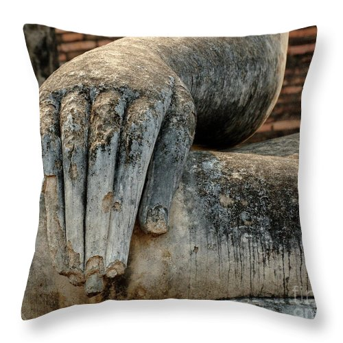 Khmier Throw Pillow featuring the photograph Buddha Hand Thailand by Bob Christopher